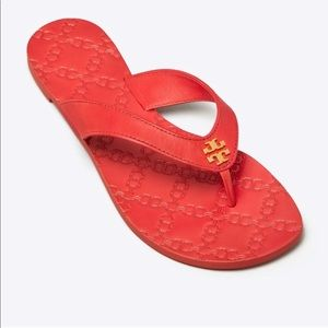 Tory Burch Monroe Leather Red Sandals Flip Flops